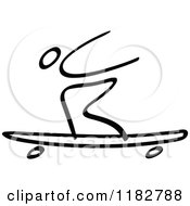 Clipart Of A Black And White Stick Drawing Of A Longboard Skater Royalty Free Vector Illustration