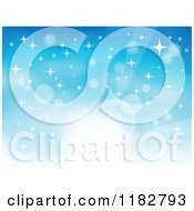 Clipart Of A Blue Sunlight Rays Stars And Flares Background Royalty Free Vector Illustration