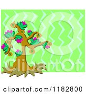 Cartoon Of A Floral Money Tree Over Green Zig Zags Royalty Free Vector Clipart by bpearth