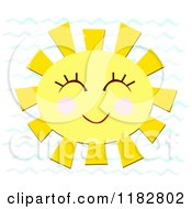 Cartoon Of A Cheerful Smiling Sun Over Waves Royalty Free Vector Clipart