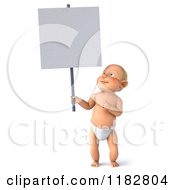 Clipart Of A 3d Caucasian Baby Boy Holding And Looking Up At A Sign Royalty Free CGI Illustration