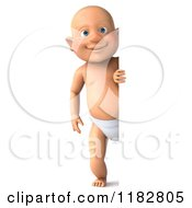 Clipart Of A 3d Caucasian Baby Boy Smiling Around A Sign Royalty Free CGI Illustration