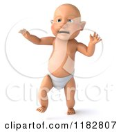 Clipart Of A 3d Caucasian Baby Boy Taking His First Steps Royalty Free CGI Illustration