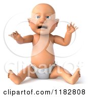 Clipart Of A 3d Caucasian Baby Boy Sitting And Wearing A Diaper Royalty Free CGI Illustration by Julos