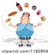 Clipart Of A Happy Chubby Burger Man Juggling Junk Foods Royalty Free CGI Illustration
