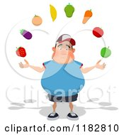 Clipart Of A Sad Chubby Burger Man Juggling Produce Royalty Free CGI Illustration