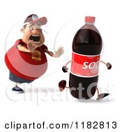 Clipart Of A 3d Chubby Burger Man Chasing A Soda Bottle Royalty Free CGI Illustration