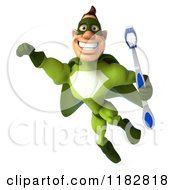 Clipart Of A 3d Super Hero Man In A Green Costume Flying With A Toothbrush Royalty Free CGI Illustration