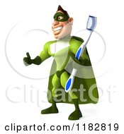 Clipart Of A 3d Super Hero Man In A Green Costume Holding A Toothbrush And Thumb Up Royalty Free CGI Illustration