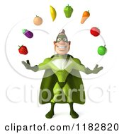 Clipart Of A 3d Super Hero Man In A Green Costume Juggling Produce Royalty Free CGI Illustration