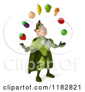 Clipart Of A 3d Super Hero Man In A Green Costume Juggling Produce 2 Royalty Free CGI Illustration