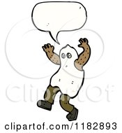 Cartoon Of A Child Dressed Up In A Ghost Costume With A Conversation Bubble Royalty Free Vector Illustration by lineartestpilot