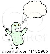 Cartoon Of A Ghoul With A Conversation Bubble Royalty Free Vector Illustration