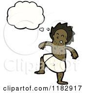 Cartoon Of A Black Man In A Bath Towel Thinking Royalty Free Vector Illustration