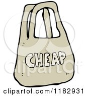 Cartoon Of A CHEAP Bag Royalty Free Vector Illustration by lineartestpilot