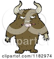 Cartoon Of A Furry Horned Monster Royalty Free Vector Illustration