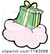 Cartoon Of A Wrapped Gift On A Cloud Royalty Free Vector Illustration