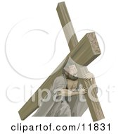 Jesus Carrying The Cross Clipart Illustration by AtStockIllustration