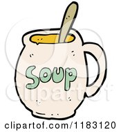 Cartoon Of A Mug Of Soup Royalty Free Vector Illustration