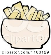 Cartoon Of A Bowl Of French Fries Royalty Free Vector Illustration