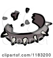 Cartoon Of A Broken Spiked Dog Collar Royalty Free Vector Illustration
