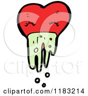 Cartoon Of A Heart Vomiting Royalty Free Vector Illustration