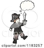 Cartoon Of A Child Dressed Up In A Pirate Costume With A Conversation Bubble Royalty Free Vector Illustration