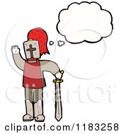 Cartoon Of A Child Dressed Up In A Knights Costume With A Conversation Bubble Royalty Free Vector Illustration