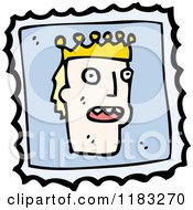 Cartoon Of A King On A Postage Stamp Royalty Free Vector Illustration by lineartestpilot