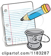 Cartoon Of A Pencil Writing A Bucket List Royalty Free Vector Clipart by Johnny Sajem
