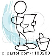 Cartoon Of A Stickler Reading A Bucket List Over Blue Royalty Free Vector Clipart by Johnny Sajem