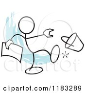 Cartoon Of A Stickler Holding A Bucket List And Kicking A Pail Over Blue Royalty Free Vector Clipart by Johnny Sajem