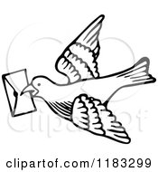 Clipart Of A Black And White Messenger Dove With A Letter Royalty Free Vector Illustration by Prawny