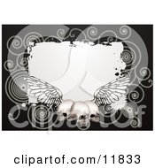 Black Background With Spirals And Three Human Skulls With Wings Clipart Illustration