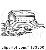 Clipart Of Black And White Noahs Ark And Waters Royalty Free Vector Illustration