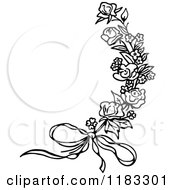 Clipart Of A Black And White Rose Sprig And Bow Royalty Free Vector Illustration by Prawny