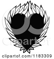 Clipart Of A Black And White Heart With Leaves Royalty Free Vector Illustration