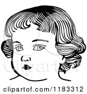 Clipart Of A Black And White Girls Face Royalty Free Vector Illustration