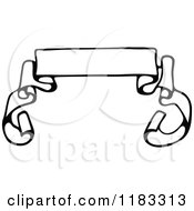 Clipart Of A Black And White Ribbon Banner Royalty Free Vector Illustration