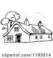 Clipart Of A Black And White Cottage With Trees Royalty Free Vector Illustration