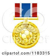 Clipart Of A Gold Soccer Ball Medal On A Ribbon Royalty Free Vector Illustration