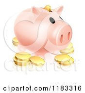 Clipart Of A Pink Piggy Bank And Gold Coins Royalty Free Vector Illustration by AtStockIllustration