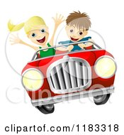 Cartoon Of A Crazy Driver Teen Boy And Happy Girl Passenger Royalty Free Vector Clipart by AtStockIllustration