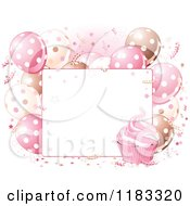 Clipart Of A Sign With Pink Cream And Brown Birthday Party Balloons And Cupcakes Royalty Free Vector Illustration