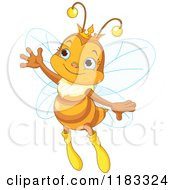 Cartoon Of A Cute Princess Bee Waving Royalty Free Vector Clipart by Pushkin