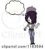 Cartoon Of An Emo Woman Thinking Royalty Free Vector Illustration