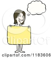 Cartoon Of A Naked Woman Holding A Towel Thinking Royalty Free Vector Illustration