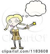 Cartoon Of A Viking Woman Thinking Royalty Free Vector Illustration
