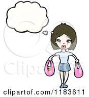 Cartoon Of A Woman Holding Two Bags Thinking Royalty Free Vector Illustration by lineartestpilot