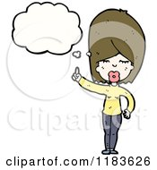 Cartoon Of A Woman Thinking And Pointing Royalty Free Vector Illustration